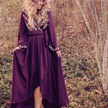 Winter Solstice Embroidered Maxi Dress