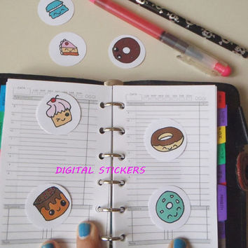 donuts kawaii planner stickers printable cupcakes donough chibi clip art agenda organizer food download digital anime manga lasoffittadiste
