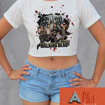 The Walking Dead Crop Top Womens Short Sleeve Chandler Riggs T Shirt Freesize Cool Sexy Top Norman Reedus Zombie Top