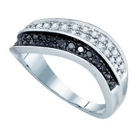 Black Diamond Fashion Ring in 10k White Gold 0.33 ctw