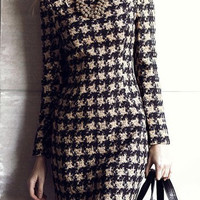 Long Sleeve Houndstooth Dress