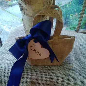 Flower Girl Basket, Burlap Bag, Flower Girl, Flower Girl Bag, Burlap Flower Girl Bag