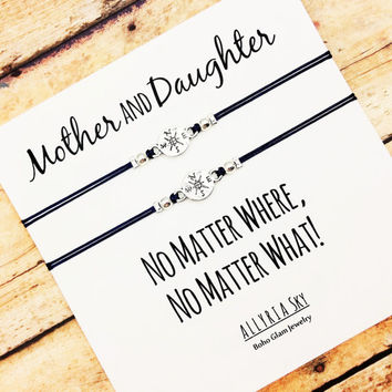 """Mother Daughter Compass Bracelet Set with """"No Matter Where No Matter What"""" Card 