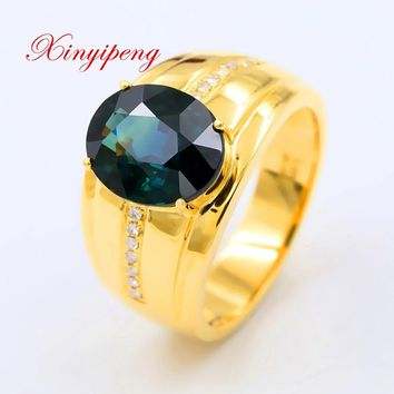 Xin yi peng 18 k yellow gold inlaid 4.2 carat natural sapphire ring, men's big ring, diamond