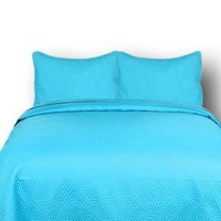 DaDa Bedding Gentle Wave Turquoise Teal Blue Thin & Lightweight Quilted Bedspread Set (LH3000)