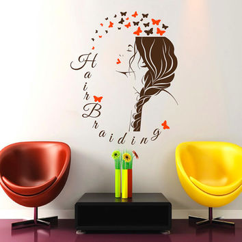 Wall Decals Beauty Salon Hair Braiding Sign Interior Decor Vinyl Sticker Hairdresser Hairstyle Barbers Braid Hairdo Face Butterflies ML106