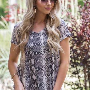 Deep V-Neck Snakeskin Top