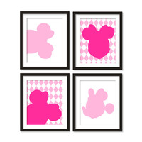 Kids artworks- room decor- minnie mouse silhouette- black pink diamonds - four arts