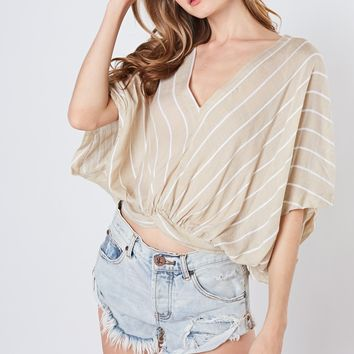 Striped front & back V-Neck Woven Top - Taupe/White