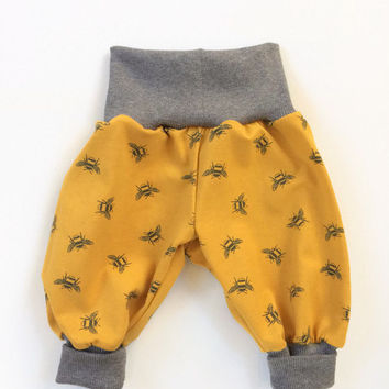 Yellow bubble pants with bees. Comfy slouchy infant pants. Harem pants with gray fold over waistband and cuffs. Harem pants. Girl, boy