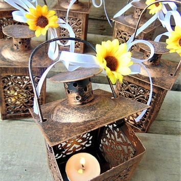 Set of 10 Rustic Wedding Lanterns, Moroccan Lantern, Rustic Wedding, Wedding Centerpiece, Sunflower Wedding, Mini Candle Holders, gift idea