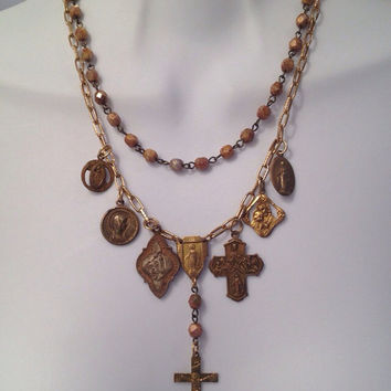 Rich antique gold and brass religious medal necklace