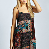 Katie Strappy Tile Print Swing Dress
