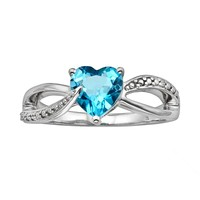 Sterling Silver Blue Topaz & Diamond Accent Heart Bypass Ring (Blue/Stone/Silver)