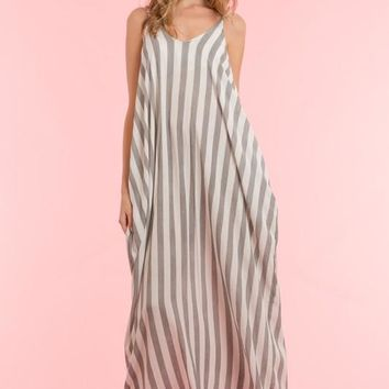 Mila Vintage Linen Stripe Maxi Dress
