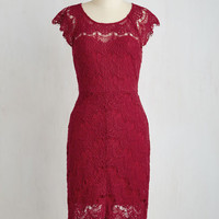 Mid-length Short Sleeves Sheath Game of Glam Dress in Sangria