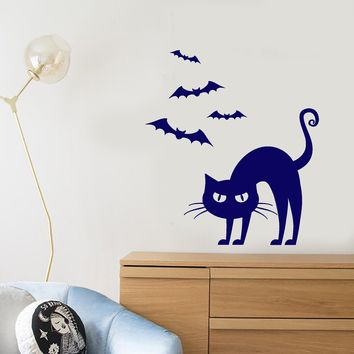 Vinyl Wall Decal Cartoon Pet Gothic Cat Bats Halloween Stickers (2622ig)