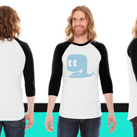 cool cute funny blue whale American Apparel Unisex 3/4 Sleeve T-Shirt