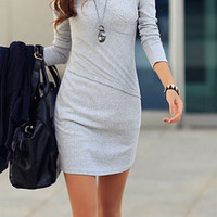 Grey Long Sleeve V-Neck Bodycon Dress