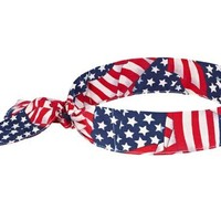 Ergodyne Chill-Its 6700 Evaporative Cooling Bandana-Tie, Stars and Stripes