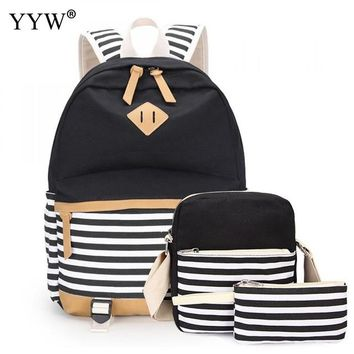 School Backpack trendy Black Striped 3 Pcs/Set Female Backpack Set Canvas Bags for Women 2018 Crossbody Bag & Clutches  for Children AT_54_4