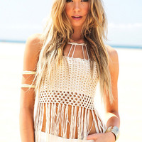 White Boho Cut-outs Tassels Beach Bandeau