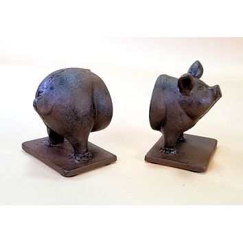 2 pc Cast Iron Pig Bookends Heavy Heirloom Quality