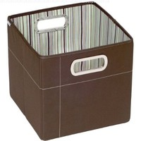 JJ Cole Collections Storage Box, Cocoa Stripe, 11""