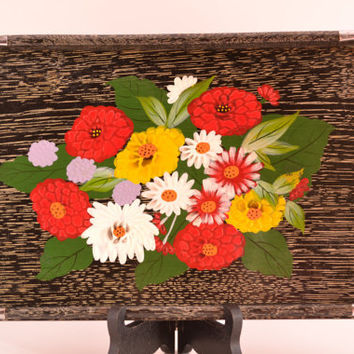 Vintage Serving tray bright flowers silver handle modern home decor bright housewares