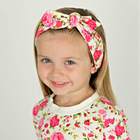 Floral Jersey Knit Tie Knot Headband