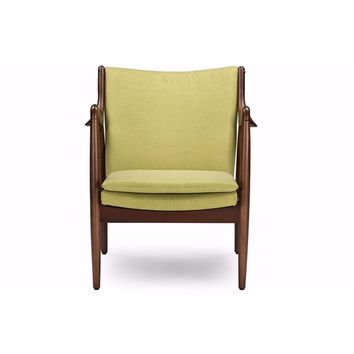 Shakespeare Mid-Century Modern Retro Green Fabric Upholstered Leisure Accent Chair By Baxton Studio