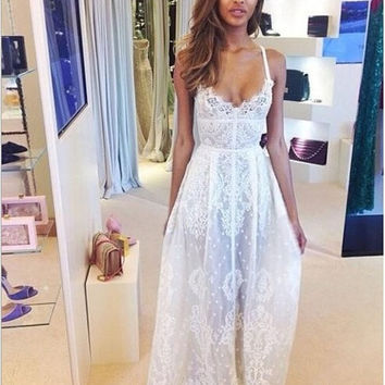 Summer Lace Boho Maxi Evening Party Bodycorn Long Dress Beach Skirt [7898550663]