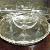 Vintage Champagne Coupe Glasses, Set of 12, Classic and Understated with Deep Bowls, Libbey Crystal Embassy Champagne, Tall Sherbet Glass