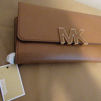 NWT MICHAEL KORS FLORENCE ACORN LEATHER LARGE BILLFOLD ID CLUTCH/WALLET