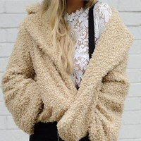 Emmy Curly Faux Fur Overized Collar Jacket