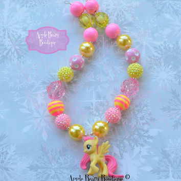 Fluttershy Necklace My Little Pony Chunky Necklace Yellow pink my little pony flower pearl chunky Bubblegum Necklace Bubble Gum