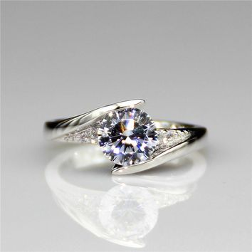 LASAMERO Solitaire 1CT Real Moissanites Lab Grown Diamond Twist Band Simple 9k White Gold Engagement Wedding Rings