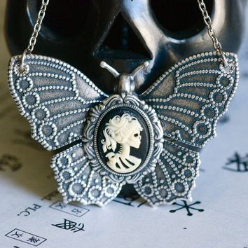 Miss Skeleton Butterfly Necklace - Ivory Black Lolita Zombie Gothic Cameo - SOLDERED - Made in USA Components