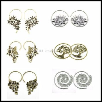 ac DCCKO2Q NEW Brass Tribal Indian Antique Bamboo Butterfly Buddhism Lotus Flower Tree of Life Dangle Earring Ear Plug Piercing Jewelry