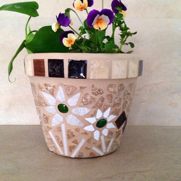Handmade mosaic flower pot, outdoor planter, indoor planter, herb pot, outdoor patio, garden planter, rustic mosaic planter, kitchen planter