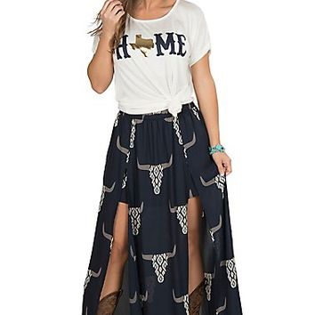 Peach Love Women's Navy Skull Maxi Skort