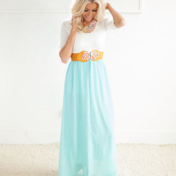 Effortless Quarter Sleeve Sky Blue Bottom White Top Maxi Dress