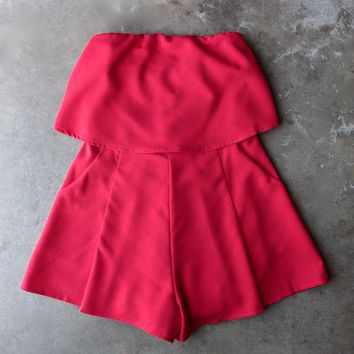 city life red strapless romper