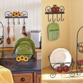 Country Kitchen Decor Collection Iron Sunflower Apple Farmhouse Rustic Primitive