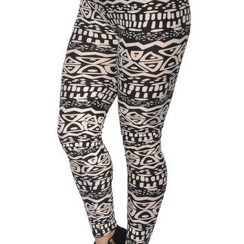 BadAssLeggings Women's Aztec Print Leggings Small Black