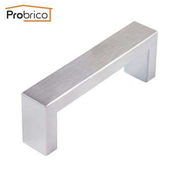 Probrico 10 Pcs 10Mm*20Mm Square Bar Handle Stainless Steel Hole Spacing 96Mm Cabinet Door Knob Drawer Pull Pddj30Hss96