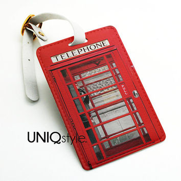 British red telephone booth luggage tag, travel bag tag, name tag, office tag, suitcase tag with straps - vintage payphone travel tag - N35