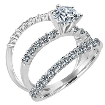 1 CT. (6.5mm) Round intensely Radiant Trio Wedding Ensemble Simulated  Diamond - fe62848bdb