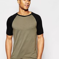 ASOS | ASOS Muscle T-Shirt With Contrast Raglan Sleeves at ASOS