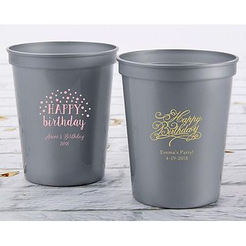 Personalized 16 oz. Stadium Cup - Happy Birthday